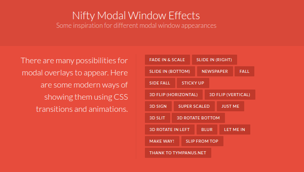 Nifty modal window with slider effects