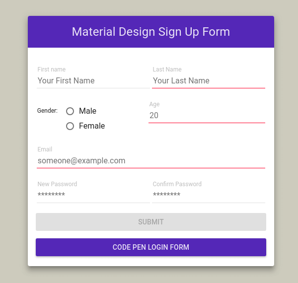 Material design register form